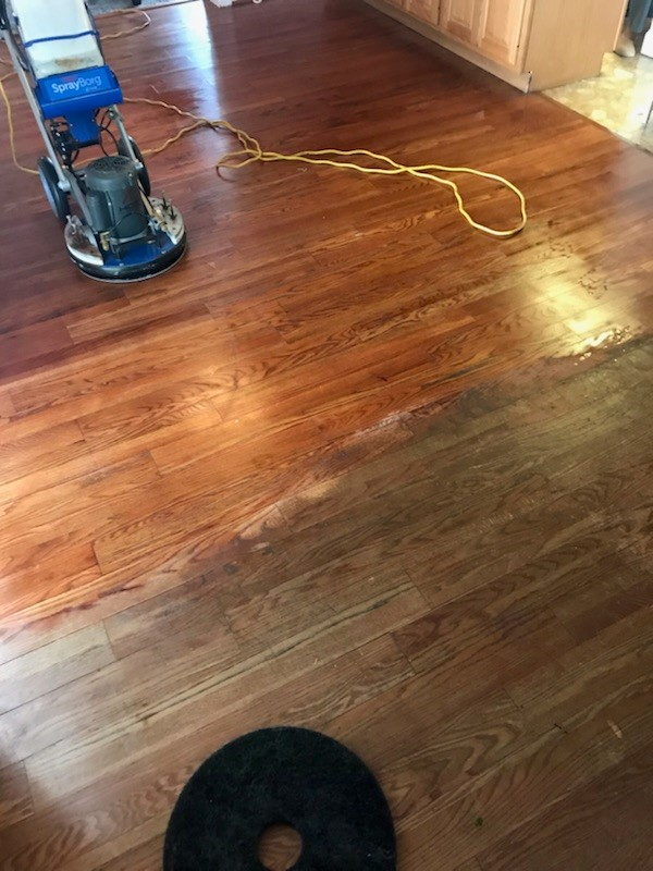 WOOD FLOOR CLEANING - DURING