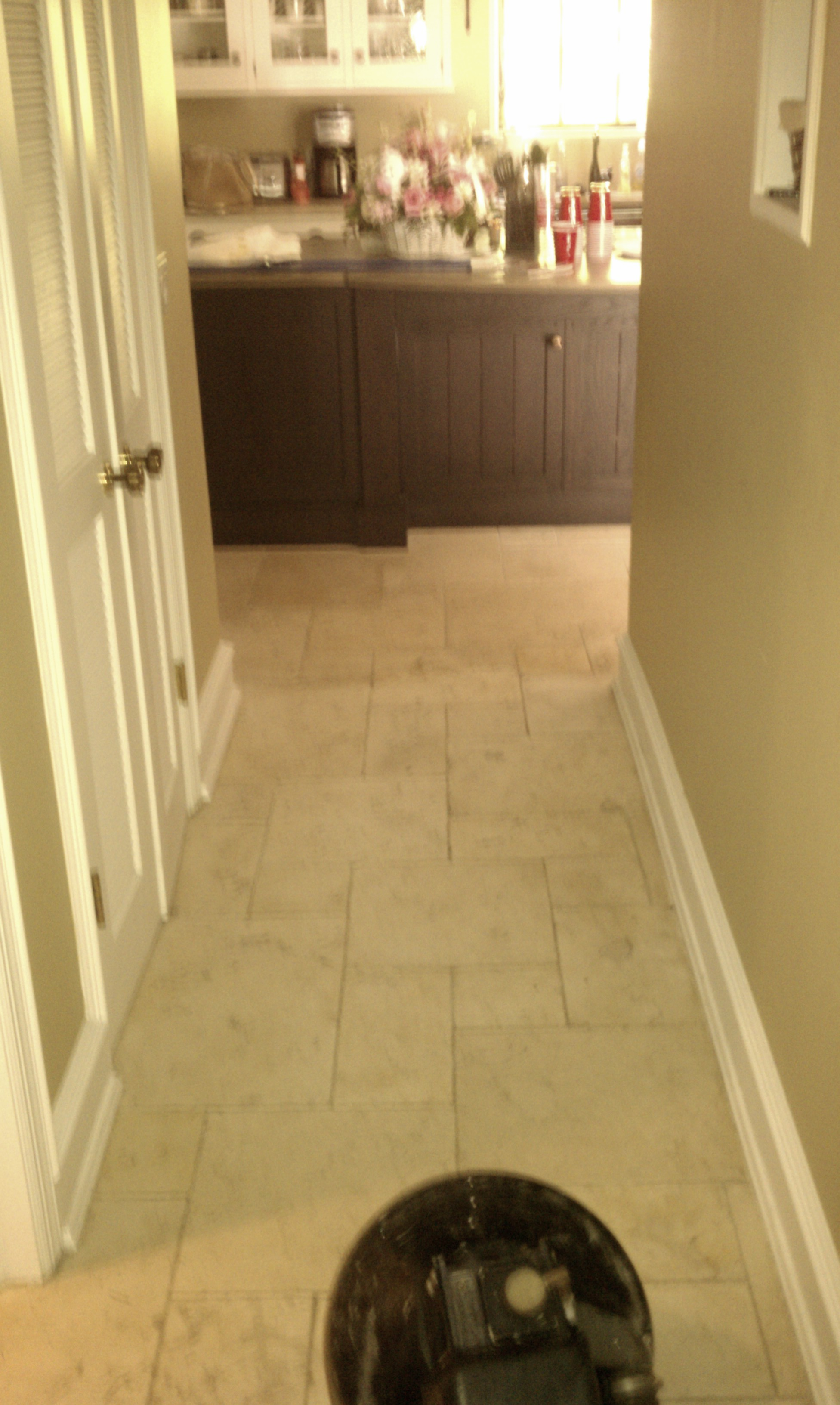TRAVERTINE TILE CLEANING - DURING